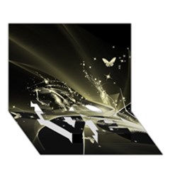 Awesome Glowing Lines With Beautiful Butterflies On Black Background Love Bottom 3d Greeting Card (7x5)  by FantasyWorld7