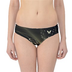 Awesome Glowing Lines With Beautiful Butterflies On Black Background Hipster Bikini Bottoms by FantasyWorld7