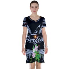 Surfboarder With Damask In Blue On Black Bakcground Short Sleeve Nightdresses