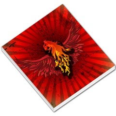 Lion With Flame And Wings In Yellow And Red Small Memo Pads