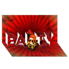 Lion With Flame And Wings In Yellow And Red Party 3d Greeting Card (8x4)