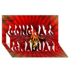Lion With Flame And Wings In Yellow And Red Congrats Graduate 3d Greeting Card (8x4)