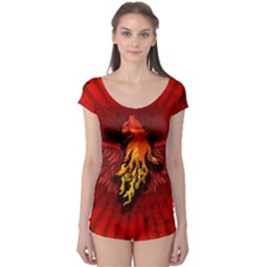 Lion With Flame And Wings In Yellow And Red Short Sleeve Leotard by FantasyWorld7