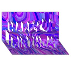 Retro Abstract Blue Pink Happy Birthday 3d Greeting Card (8x4)  by ImpressiveMoments