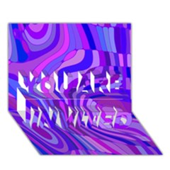 Retro Abstract Blue Pink You Are Invited 3d Greeting Card (7x5)
