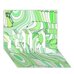 Retro Abstract Green Girl 3d Greeting Card (7x5)  by ImpressiveMoments