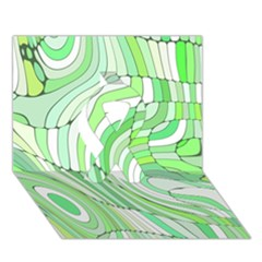Retro Abstract Green Ribbon 3d Greeting Card (7x5)  by ImpressiveMoments