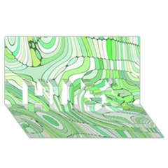 Retro Abstract Green Hugs 3d Greeting Card (8x4)