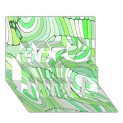 Retro Abstract Green Get Well 3d Greeting Card (7x5)  by ImpressiveMoments