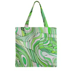 Retro Abstract Green Zipper Grocery Tote Bags by ImpressiveMoments