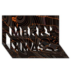 Retro Abstract Orange Black Merry Xmas 3d Greeting Card (8x4)  by ImpressiveMoments
