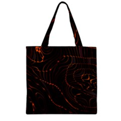 Retro Abstract Orange Black Zipper Grocery Tote Bags by ImpressiveMoments
