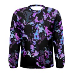 Splatter Blue Pink Men s Long Sleeve T-shirts by MoreColorsinLife