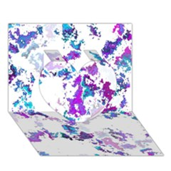 Splatter White Lilac Heart 3d Greeting Card (7x5)
