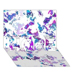 Splatter White Lilac Hope 3d Greeting Card (7x5)  by MoreColorsinLife