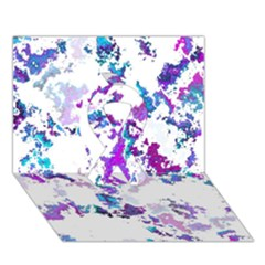 Splatter White Lilac Ribbon 3d Greeting Card (7x5)  by MoreColorsinLife