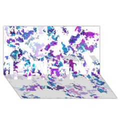 Splatter White Lilac Party 3d Greeting Card (8x4)  by MoreColorsinLife