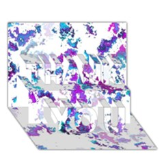 Splatter White Lilac Thank You 3d Greeting Card (7x5)  by MoreColorsinLife