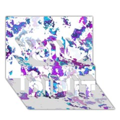 Splatter White Lilac You Did It 3d Greeting Card (7x5) by MoreColorsinLife