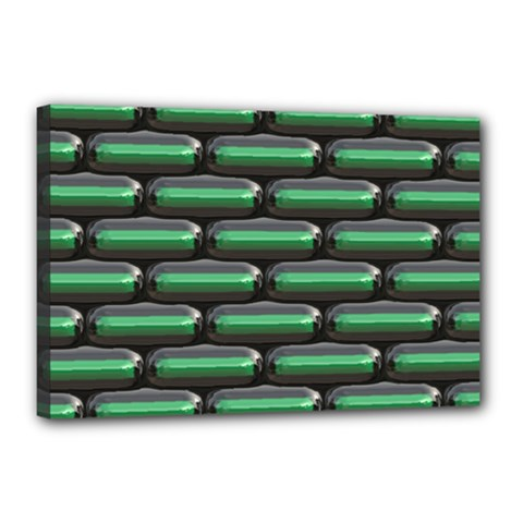 Green 3d Rectangles Pattern Canvas 18  X 12  (stretched) by LalyLauraFLM