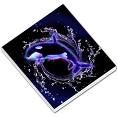 Orca With Glowing Line Jumping Out Of A Circle Mad Of Water Small Memo Pads