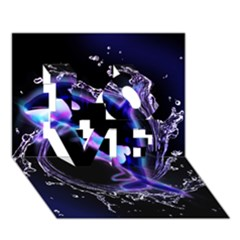 Orca With Glowing Line Jumping Out Of A Circle Mad Of Water Love 3d Greeting Card (7x5)  by FantasyWorld7