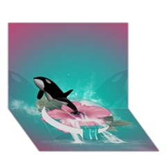 Orca Jumping Out Of A Flower With Waterfalls Circle Bottom 3d Greeting Card (7x5)  by FantasyWorld7
