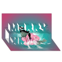 Orca Jumping Out Of A Flower With Waterfalls Merry Xmas 3D Greeting Card (8x4)  by FantasyWorld7