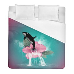 Orca Jumping Out Of A Flower With Waterfalls Duvet Cover Single Side (twin Size) by FantasyWorld7