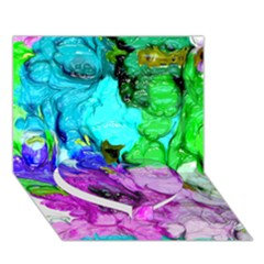 Strange Abstract 4 Heart Bottom 3d Greeting Card (7x5)  by MoreColorsinLife