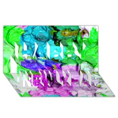 Strange Abstract 4 Happy New Year 3d Greeting Card (8x4)