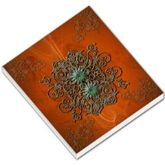Wonderful Floral Elements On Soft Red Background Small Memo Pads by FantasyWorld7