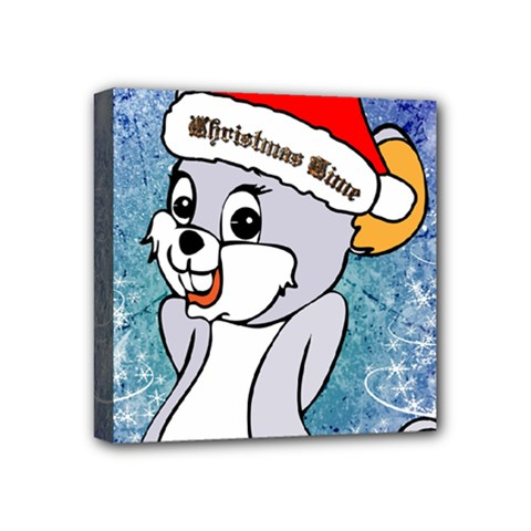 Funny Cute Christmas Mouse With Christmas Tree And Snowflakses Mini Canvas 4  X 4  by FantasyWorld7