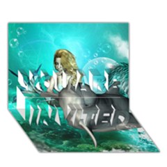 Beautiful Mermaid With  Dolphin With Bubbles And Water Splash You Are Invited 3d Greeting Card (7x5)  by FantasyWorld7