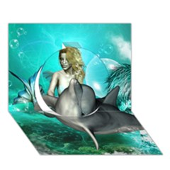 Beautiful Mermaid With  Dolphin With Bubbles And Water Splash Circle 3d Greeting Card (7x5)  by FantasyWorld7