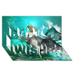 Beautiful Mermaid With  Dolphin With Bubbles And Water Splash Best Wish 3d Greeting Card (8x4)  by FantasyWorld7