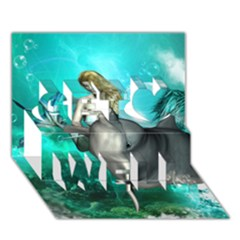 Beautiful Mermaid With  Dolphin With Bubbles And Water Splash Get Well 3d Greeting Card (7x5)  by FantasyWorld7