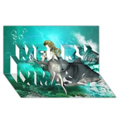 Beautiful Mermaid With  Dolphin With Bubbles And Water Splash Merry Xmas 3d Greeting Card (8x4)  by FantasyWorld7