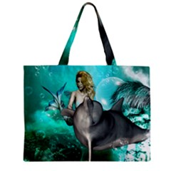 Beautiful Mermaid With  Dolphin With Bubbles And Water Splash Zipper Tiny Tote Bags by FantasyWorld7