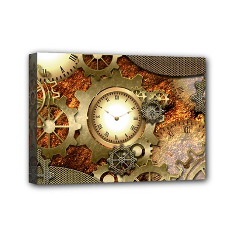 Steampunk, Wonderful Steampunk Design With Clocks And Gears In Golden Desing Mini Canvas 7  x 5  by FantasyWorld7