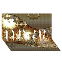 Steampunk, Wonderful Steampunk Design With Clocks And Gears In Golden Desing Best Sis 3d Greeting Card (8x4)