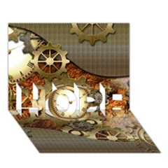 Steampunk, Wonderful Steampunk Design With Clocks And Gears In Golden Desing Hope 3d Greeting Card (7x5)