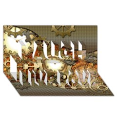 Steampunk, Wonderful Steampunk Design With Clocks And Gears In Golden Desing Laugh Live Love 3d Greeting Card (8x4)