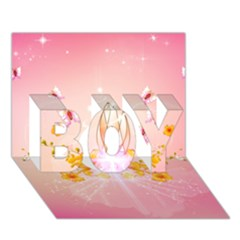 Wonderful Flowers With Butterflies And Diamond In Soft Pink Colors BOY 3D Greeting Card (7x5)