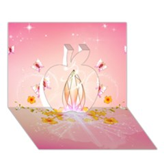 Wonderful Flowers With Butterflies And Diamond In Soft Pink Colors Apple 3d Greeting Card (7x5)