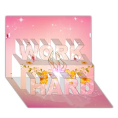 Wonderful Flowers With Butterflies And Diamond In Soft Pink Colors Work Hard 3d Greeting Card (7x5)