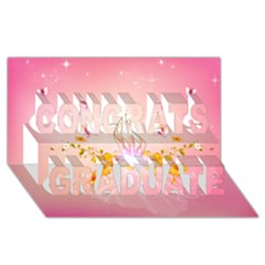Wonderful Flowers With Butterflies And Diamond In Soft Pink Colors Congrats Graduate 3d Greeting Card (8x4)  by FantasyWorld7