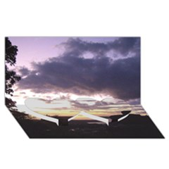 Sunset Over The Valley Twin Heart Bottom 3d Greeting Card (8x4)