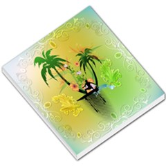 Surfing, Surfboarder With Palm And Flowers And Decorative Floral Elements Small Memo Pads by FantasyWorld7