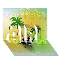 Surfing, Surfboarder With Palm And Flowers And Decorative Floral Elements Girl 3d Greeting Card (7x5)